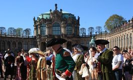 Group of people in medieval clothes in Dresden stock images