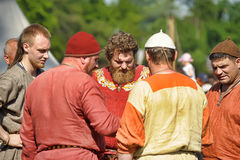 Group of people in medieval dress Viking Royalty Free Stock Photos