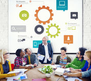 Group of People Meeting with Gears Symbol Stock Photo