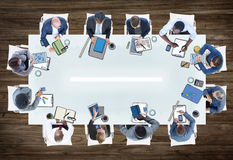 Group of People in a Meeting Photo Illustration stock images