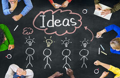 Group of People in a Meeting and Single Word Ideas. People in a Meeting and Single Word Ideas Royalty Free Stock Photo