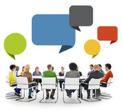 Group of People in Meeting with Speech Bubbles Stock Photography