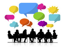 Group of People Meeting with Speech Bubbles stock illustration