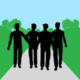 Group of people - men. Silhouettes of people - men - in park- additional ai and eps format available on request Royalty Free Stock Image