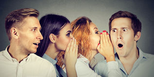 Group of people men and women whispering each other in the ear. Group of young people men and women whispering each other in the ear. Word of mouth concept stock image