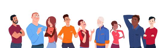 Group Of People Mix Race Cartoon Of Different Age Isolated On White Background Horizontal Banner Diverse Modern Men And. Women Flat Vector Illustration Royalty Free Illustration