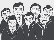Group of people. Mono color vector illustration of group of people looking intensively something - a fire, a car accident or someone who is going to jump from a vector illustration