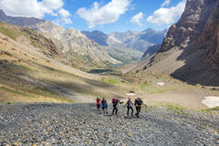 Group Of People on Moraine Royalty Free Stock Photos