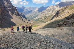 Group Of People on Moraine Stock Images