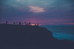 Group of People on Mountain Top during Sunset Royalty Free Stock Photo
