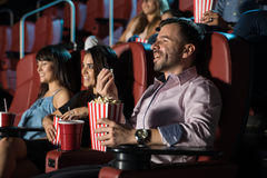 Group of people at the movie theater royalty free stock photos