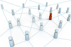 Group of people in a network or hub. Communications and teamwork 3d people render Royalty Free Stock Image
