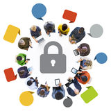 Group of People with Network Security Concept Stock Image