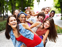 Group of people outdoors. Royalty Free Stock Image
