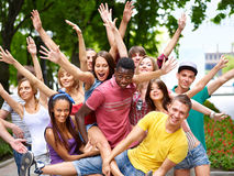 Group of people outdoors. Stock Photo