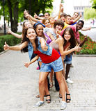 Group of people outdoors. Royalty Free Stock Photography