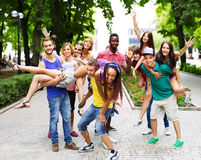 Group of people outdoors. Royalty Free Stock Photos