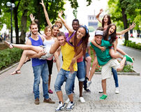 Group people outdoors. Stock Photo