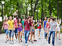 Group of people outdoors. Royalty Free Stock Images