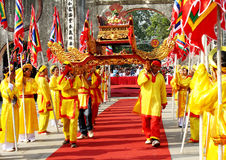 Group of people palanquin procession of holy Royalty Free Stock Photo