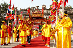 Group of people palanquin procession of holy Royalty Free Stock Photos