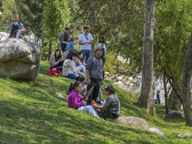 Group of People at Park in Cuenca Ecuador stock photography