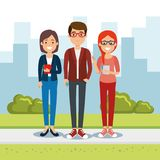 Group of people in the park. Vector illustration design royalty free illustration