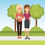 Group of people in the park. Vector illustration design stock illustration