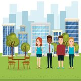 Group of people in the park. Vector illustration design vector illustration