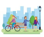 Group of people on the park. Vector illustration design stock illustration