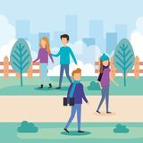 Group of people on the park. Vector illustration design vector illustration