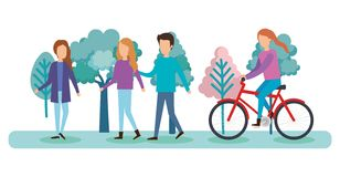 Group of people on the park. Vector illustration design royalty free illustration