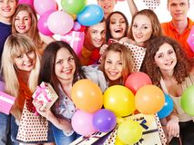 Group people on party. stock photos