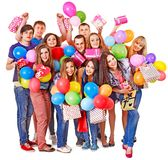 Group people on party. Group people with balloon on party. Isolated Stock Photography