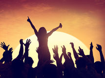 Group of People Party in Back Lit Royalty Free Stock Image