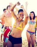 Group of people party on the beach Royalty Free Stock Photo