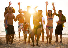 Group of People Party on the Beach Royalty Free Stock Images