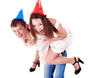 Group people in party hat. Royalty Free Stock Photos