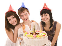 Group people in party hat with cake. Stock Photo