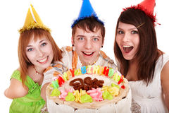Group people in party hat with happy cake. Stock Photo