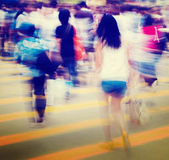 Group of People Pedestrian Rush Hour Concepts Stock Photo