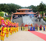Group of people performance dragon dance Stock Photo