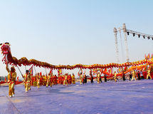 Group of people performance dragon dance Royalty Free Stock Images