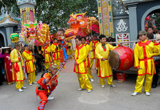 Group of people performance dragon dance Royalty Free Stock Image