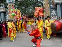 Group of people performance dragon dance Stock Image