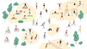 Group of people performing sports activities at park - doing yoga and gymnastics exercises, jogging, riding bicycles. Playing ball game and tennis. Outdoor royalty free illustration