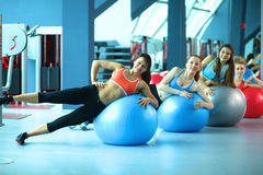 Group of people in a Pilates class at the gym Stock Photos