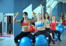 Group of people in a Pilates class at the gym Royalty Free Stock Photos