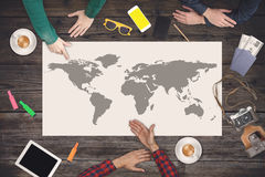 Group of people planning trip. Travel concept. Top view. Royalty Free Stock Image