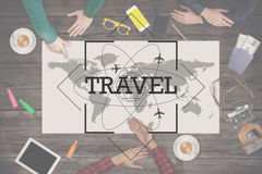 Group of people planning trip. Travel concept. Top view. Stock Images